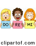 Vector Clipart of Diverse Cartoon Styled School Children Singing Do Re Mi by BNP Design Studio