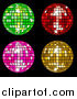 Vector Clipart of Green, Red, Pink and Yellow Disco Balls on Black by Elaineitalia