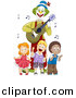 Vector Clipart of Happy Cartoon Kids Dancing with Clown Playing Guitar by BNP Design Studio