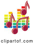 Vector Clipart of Music Notes over Colorful Equalizer Bars in the Background by Vector Tradition SM