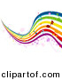 Vector Clipart of Musical Rainbow Waves with Music Notes by BNP Design Studio
