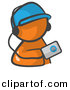 Vector Clipart of Orange Man Listening to Mp3 Music Player by Leo Blanchette