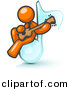 Vector Clipart of Orange Man Playing a Guitar While Sitting on a Giant Music Note by Leo Blanchette