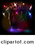 Vector Clipart of People Dancing Against Colorful Disco Lights on Black by KJ Pargeter