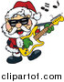 Vector Clipart of Santa Wearing Shades, Rocking out and Playing a Guitar by Dennis Holmes Designs