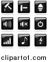 Vector Clipart of Shiny Black and White Square Hammer, Sound, Power, Graph, Music and Arrow Website Button Icons by Jiri Moucka