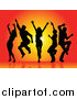 Vector Clipart of Silhouetted Dancers over a Burst by KJ Pargeter