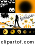 Vector Clipart of Spooky Eyes, Music Notes, Butterflies, Bursts, Hearts, Flames, a Woman and Arrows - Digital Collage with Design Elements, Backgrounds, and Borders by KJ Pargeter