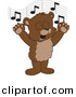 Vector of a Cartoon Bear Cub School Singing by Toons4Biz