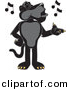 Vector of a Cartoon Black Jaguar Singing by Toons4Biz