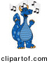Vector of a Cartoon Blue Dragon School Singing by Toons4Biz