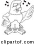 Vector of a Cartoon Falcon Singing - Coloring Page Outline by Toons4Biz
