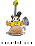 Vector of a Cartoon Guitar Serving a Thanksgiving Turkey on a Platter by Toons4Biz