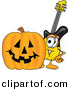 Vector of a Cartoon Guitar with a Carved Halloween Pumpkin by Toons4Biz