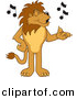 Vector of a Cartoon Lion Singing by Toons4Biz