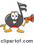 Vector of a Cartoon Music Note Holding a Megaphone by Toons4Biz