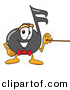 Vector of a Cartoon Music Note Holding a Pointer Stick by Toons4Biz