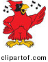 Vector of a Cartoon Red Cardinal School Singing by Toons4Biz
