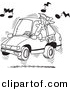 Vector of Cartoon Man Blaring Rap Music in His Car - Coloring Page Outline by Toonaday