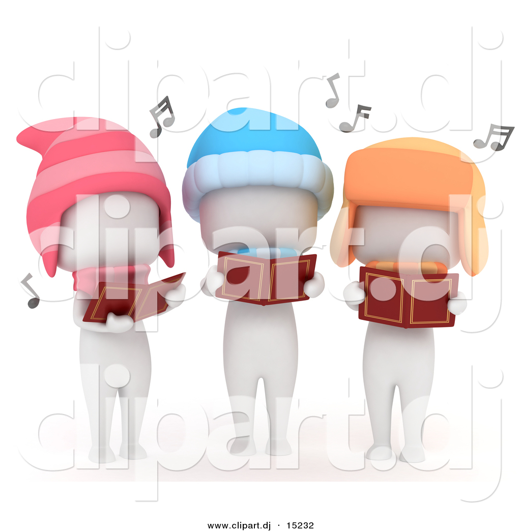 Cartoon clipart of 3 white kids singing outdoors while looking at cartoon clipart of 3 white kids singing outdoors while looking at music books and wearing winter voltagebd Images