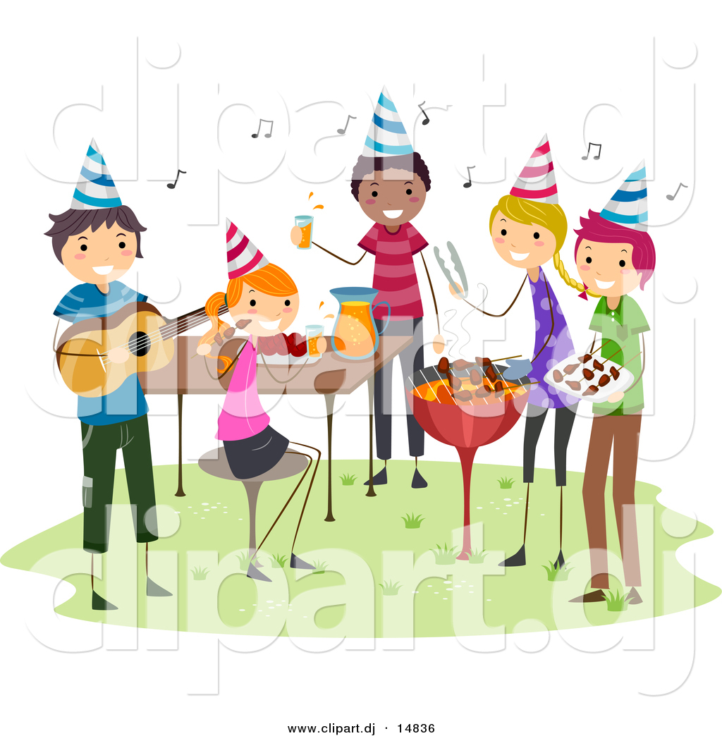 Cartoon Vector Clipart Of A Bbq Birthday Party With Happy