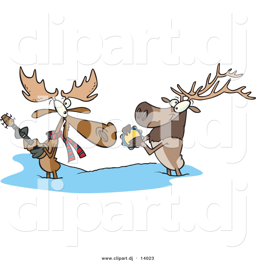 Cartoon vector clipart of a cartoon moose and elk playing music in cartoon vector clipart of a cartoon moose and elk playing music in the snow voltagebd Images