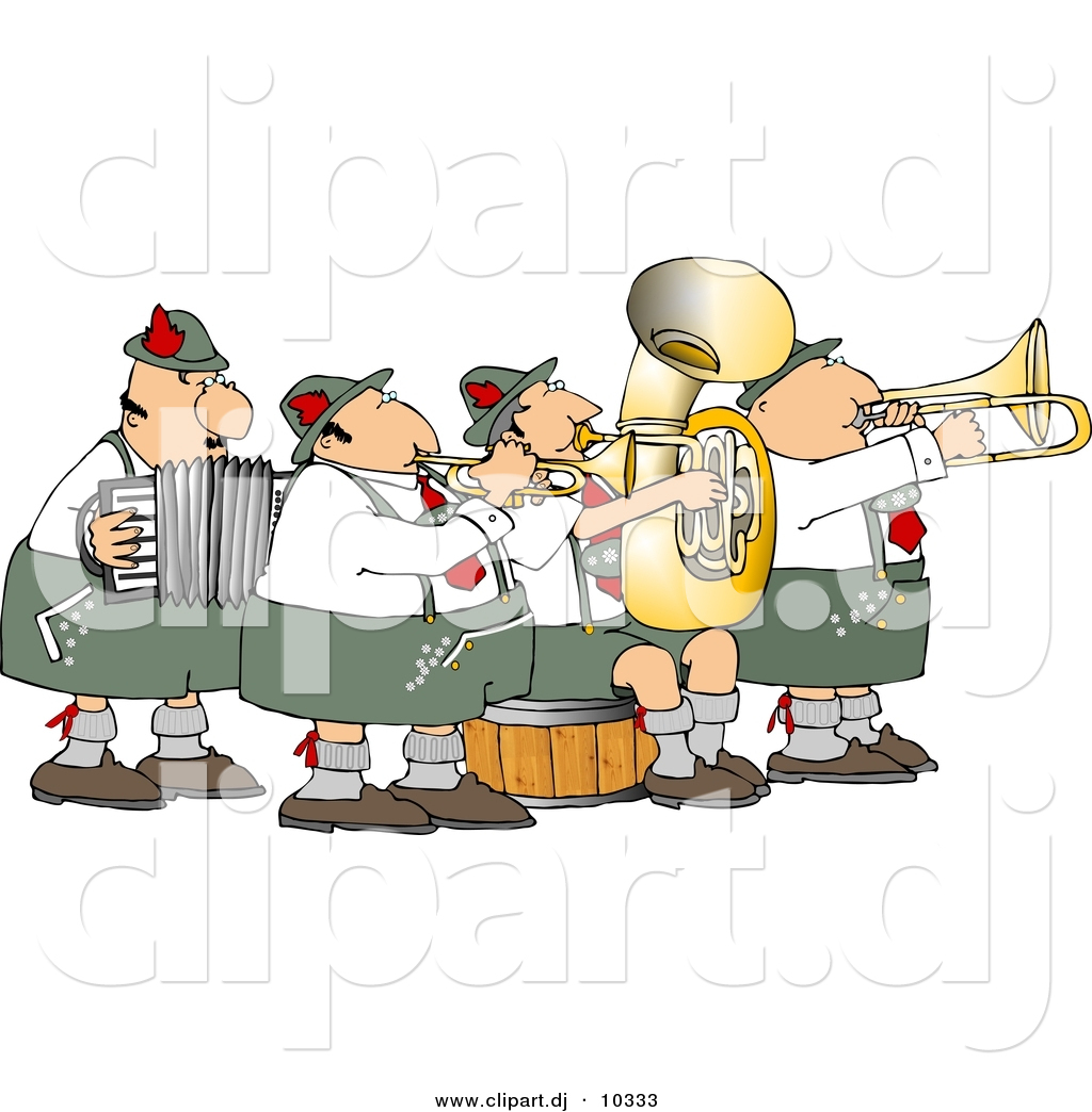 Clipart Of A Cartoon German Band Playing Music