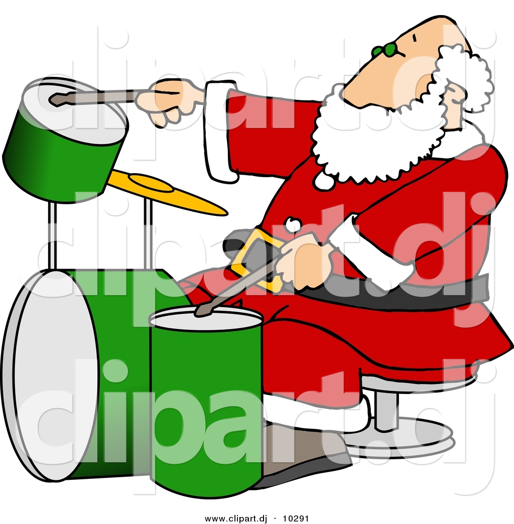 Clipart Of A Cartoon Santa Claus Playing Drums