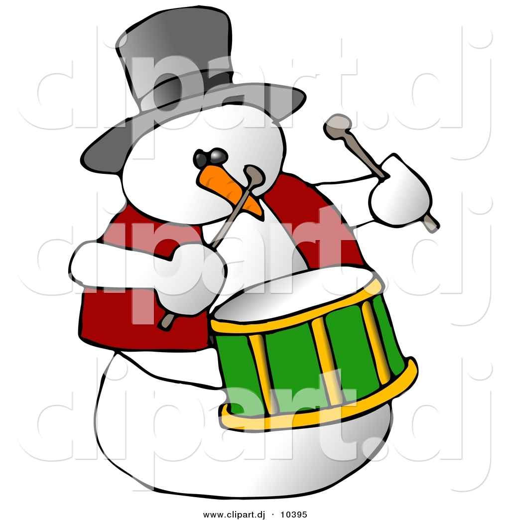 Clipart Of A Cartoon Snowman Playing Drums