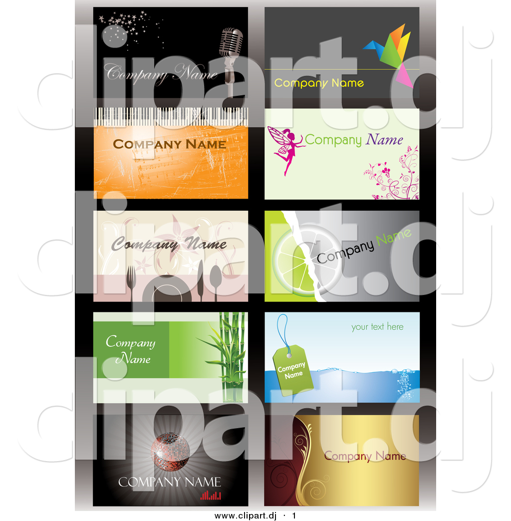 Vector clipart of a 10 business card templates with sample text vector clipart of a 10 business card templates with sample text digital collage colourmoves