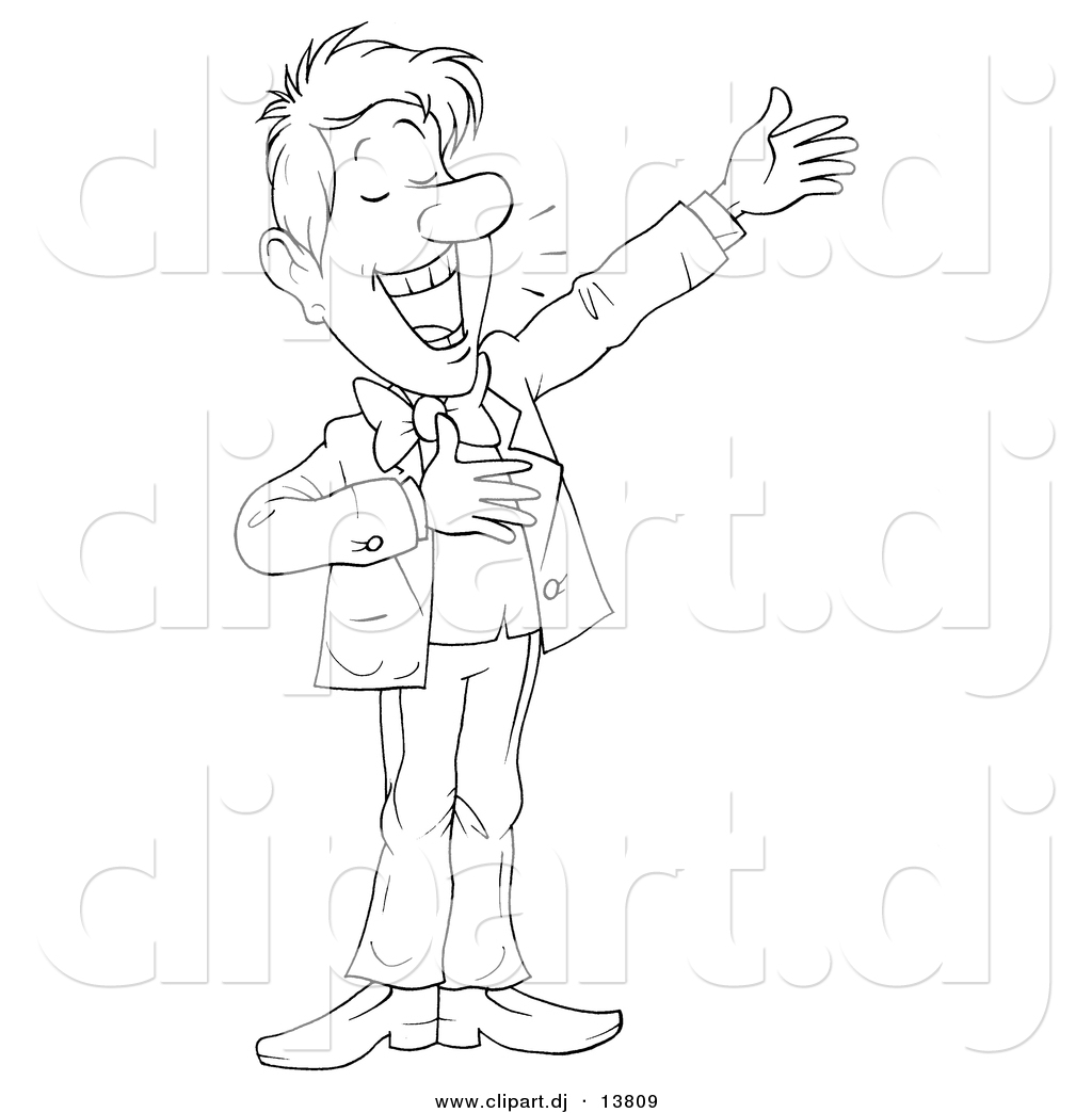 Vector Clipart of a Cartoon Man Happily Presenting ...