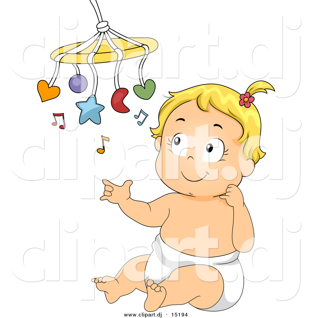 Vector Clipart Of A Happy Cartoon Baby Girl Playing With Her Music Toy By Bnp Design Studio 15194