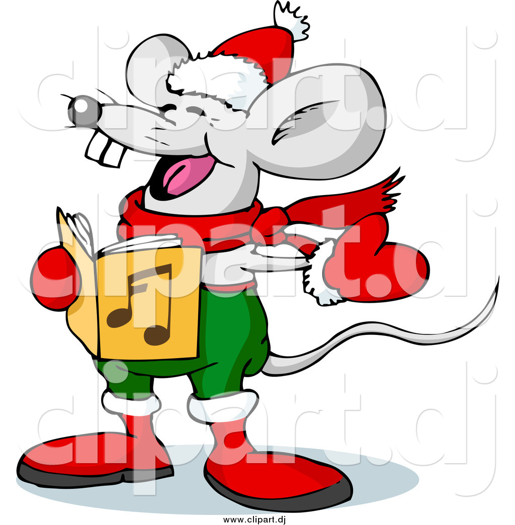 vector clipart of a mouse singing christmas carols on xmas eve by rh clipart dj free clipart christmas carolers free victorian christmas carolers clipart