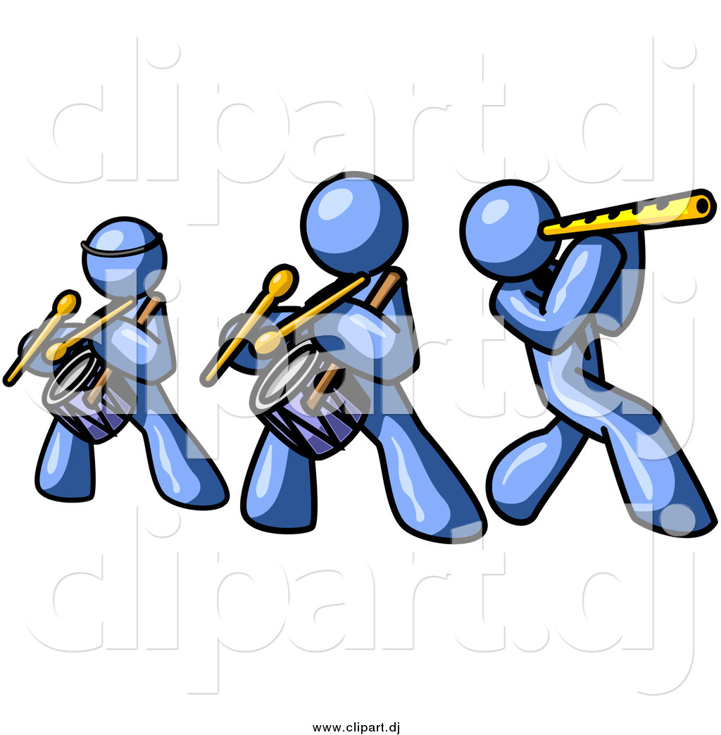 Vector Clipart Of Blue Men Playing Flutes And Drums