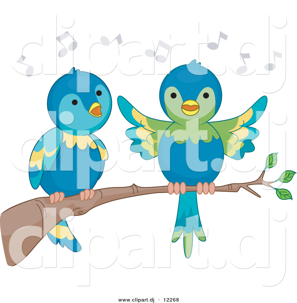 Vector Clipart Of Cartoon Parrots Singing On A Tree Branch By Bnp Design Studio 12268 All prices are exclusive of vat. vector clipart of cartoon parrots