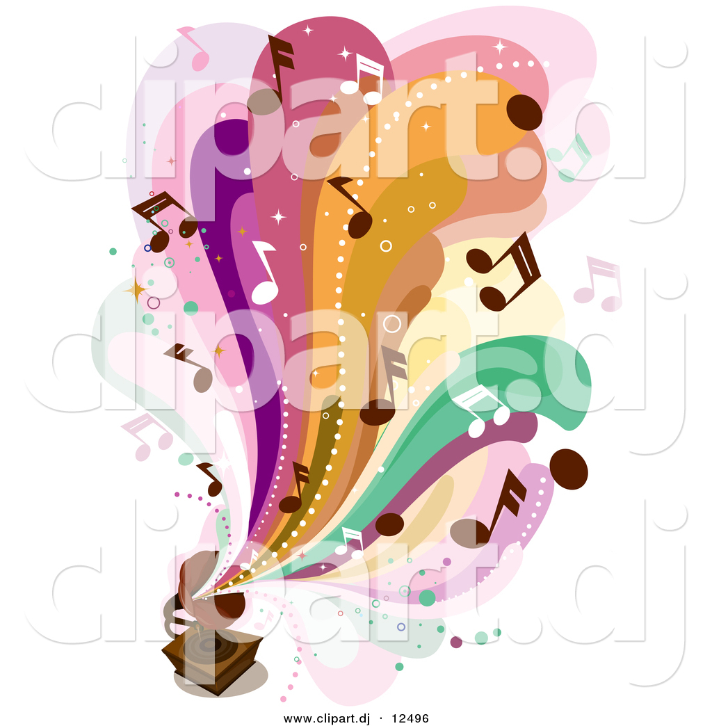 Vector Clipart Of Colorful Waves Music Notes Flowing Out From An Old Gramophone