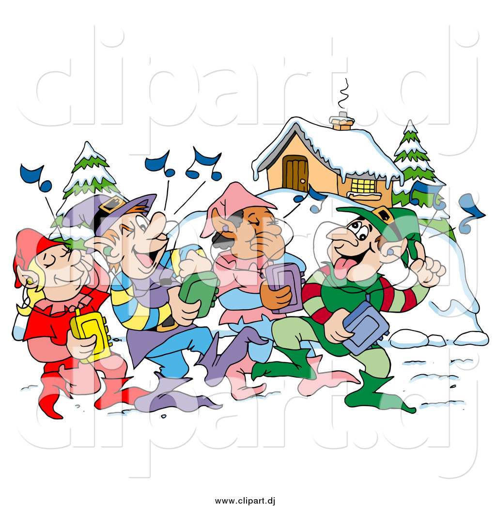 Vector clipart of happy elves walking through a winter village and vector clipart of happy elves walking through a winter village and listening to christmas music on voltagebd Images