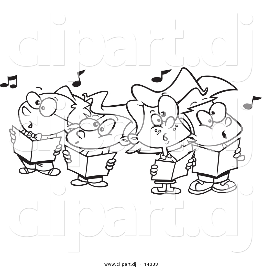 Vector of Cartoon Choir Kids Singing - Coloring Page Outline by ...