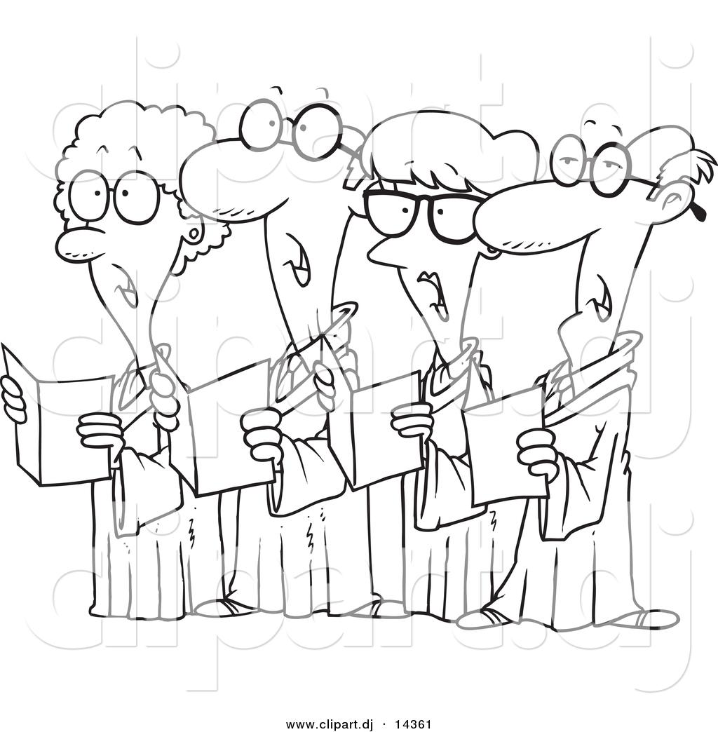 Vector of Cartoon Choir with 4