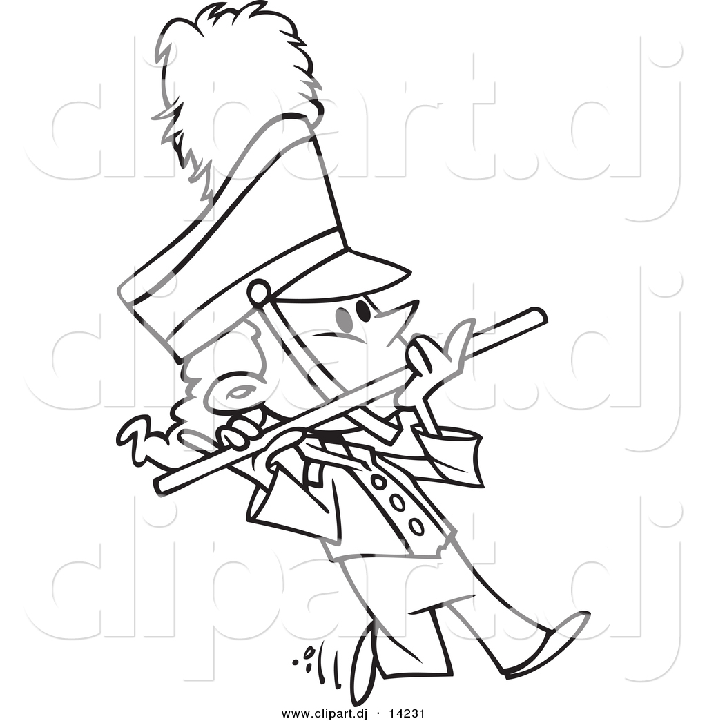 Vector of Cartoon Flutist in a Marching Band - Coloring Page Outline
