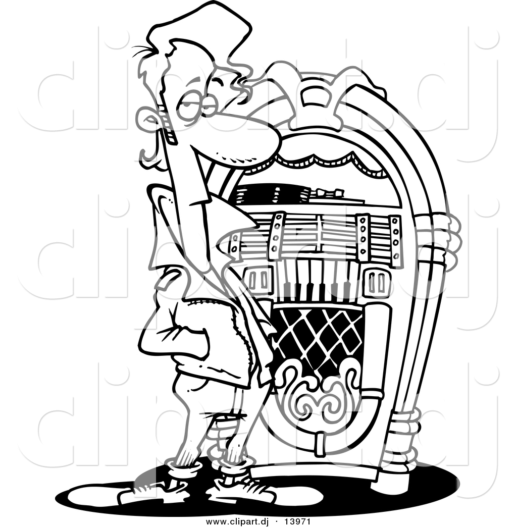Line Art Jukebox : Vector of cartoon greaser by a juke box coloring page