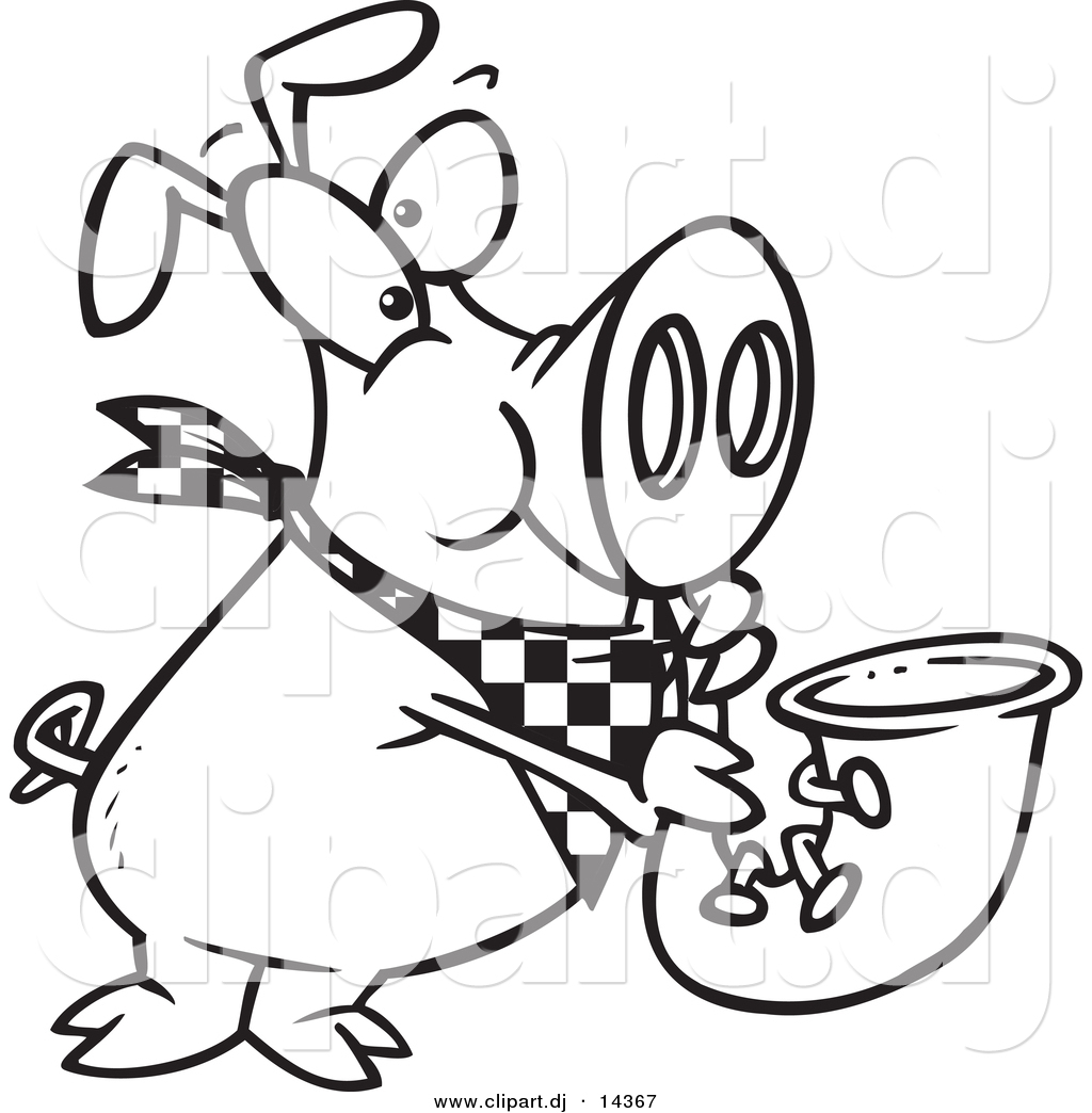 vector of cartoon pig playing a saxophone coloring page outline
