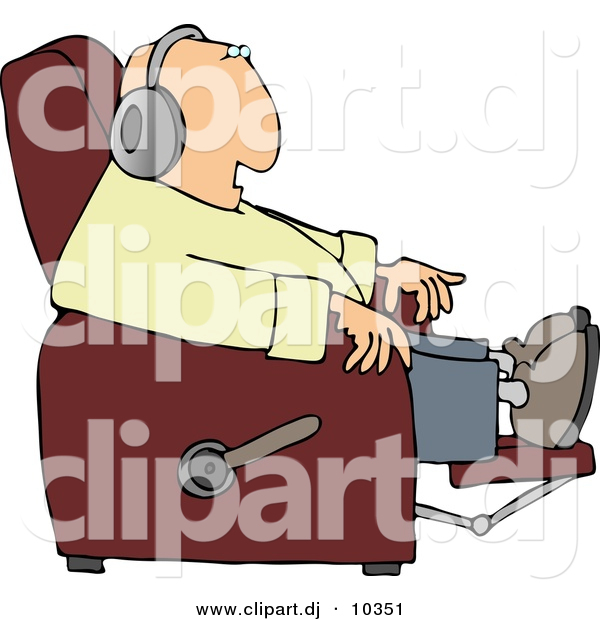 Clipart Of A Cartoon Man Sitting In Recliner And Listening To Music Through Earphones