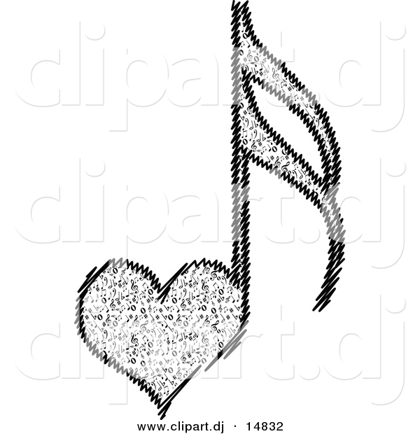 vector clipart of a love heart music notes by andrei marincas 14832 rh clipart dj Music Notes Symbols Music Notes Background