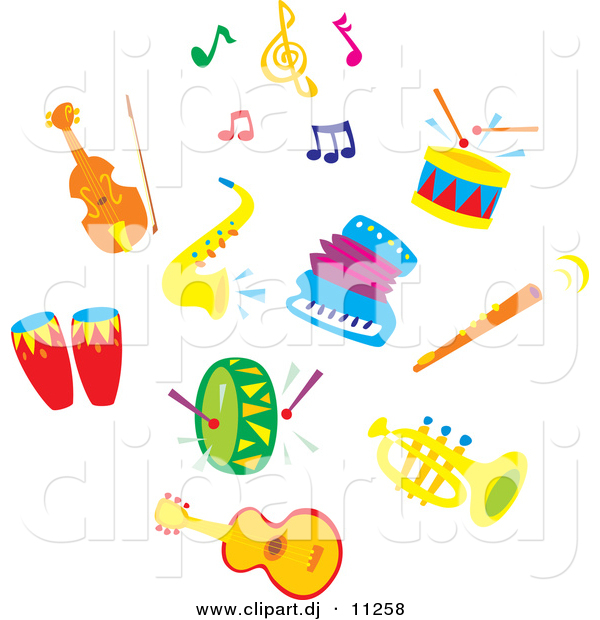 Vector Clipart Of Sax Accordion Colorful Music Notes A Cello Or Violin